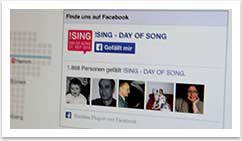 eCommerce und Buchungssysteme für !SING - Day of Song by bgp e.media - Facebook verlinkung