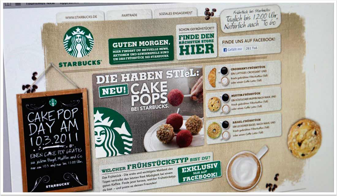 Webspezial Aktions-Microsite für Good Morning Starbucks by bgp e.media - Homescreen Teaser Störer Links