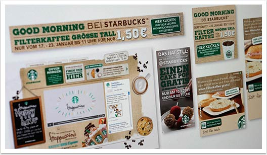Webspezial Aktions-Microsite für Good Morning Starbucks by bgp e.media - Übersicht aller Aktionen Kampagne