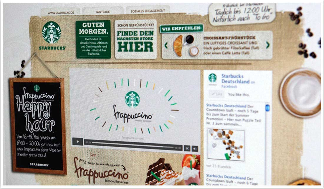 Webspezial Aktions-Microsite für Good Morning Starbucks by bgp e.media - Screendesign
