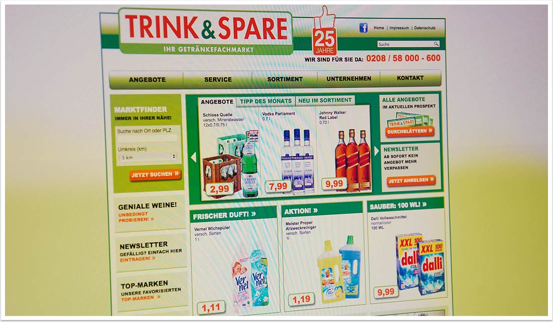 B2C-Website für Trink & Spare by bgp e.media - Startseite