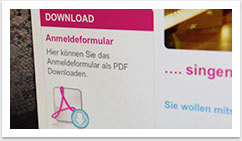 eCommerce und Buchungssysteme für !SING - Day of Song by bgp e.media - Download Anmeldeformular