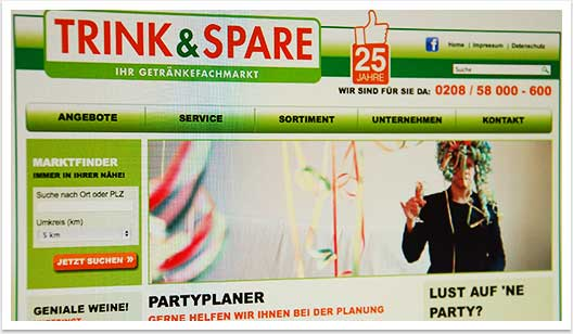 B2C-Website für Trink & Spare by bgp e.media - Top Navigation