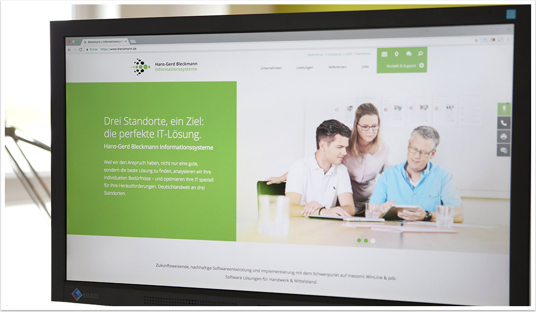 Screendesign für Bleckmann Informationssysteme Webdesign by bgp e.media