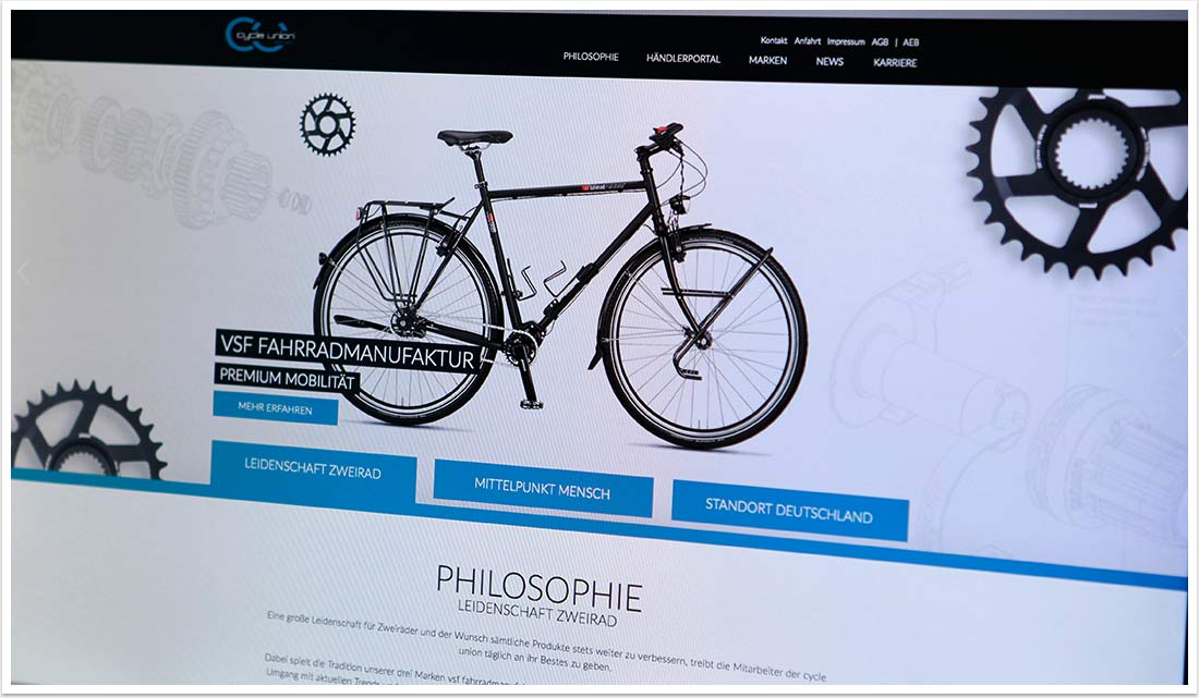 Webdesign im e.sy CMS für Cycle Union by bgp e.media - Startseitendetail