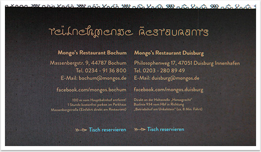 Online Marketing via Webspezial Aktions Microsite für Mongos by bgp e.media - Teilnehmende Restaurants