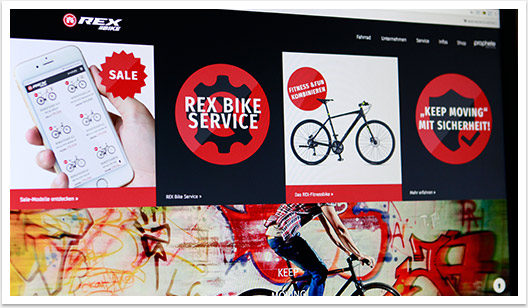 rex bike website kacheln by bgp.emedia