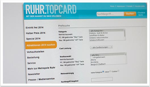 RUHR.TOPCARD Website von bgp e.media